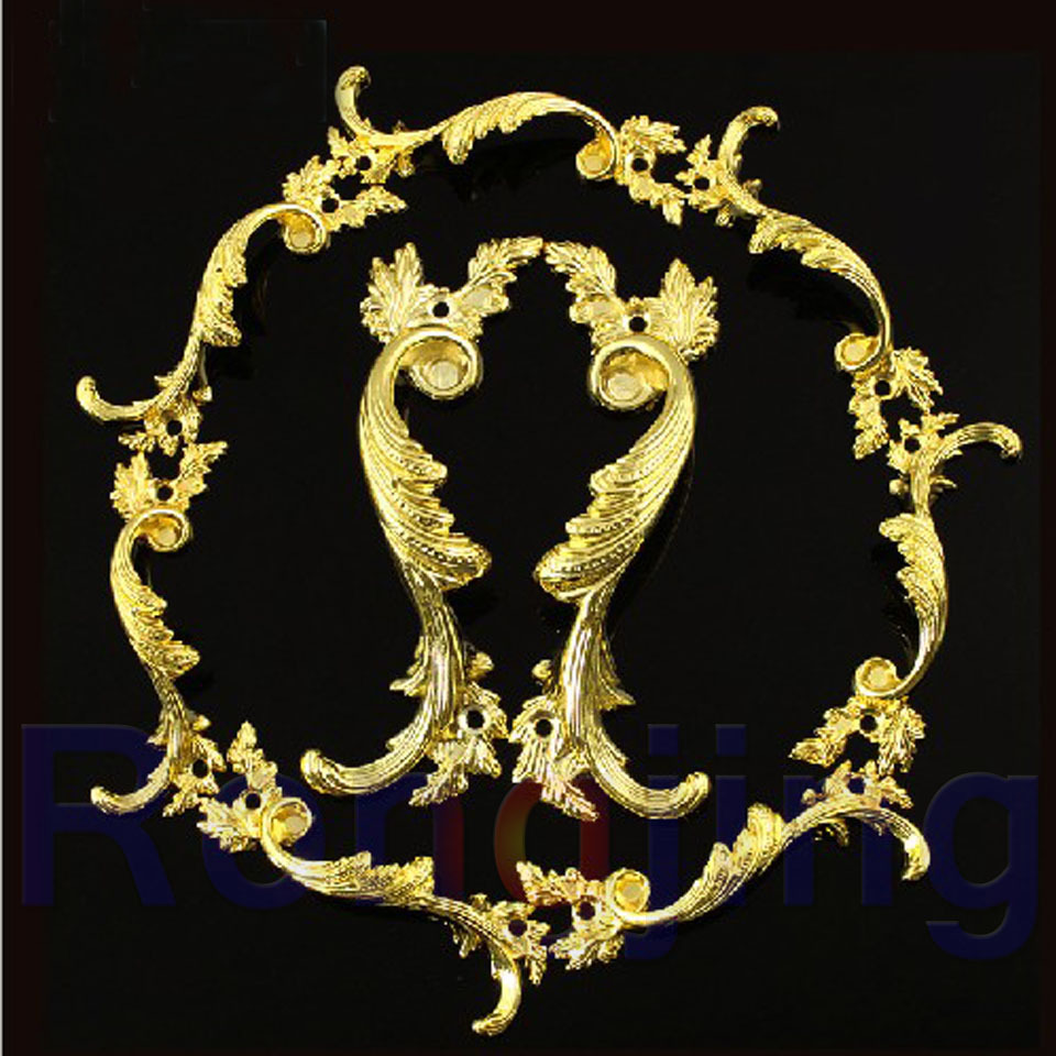 New 2pcs Phoenix Pattern Palace Cabinet Hanles Euro-Style Furniture Golden Knob Creative Cupboard Closet Drawer Handle Pull Bars ...