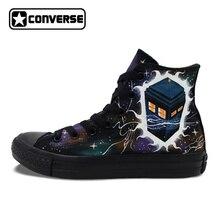 Мужские и женские все черные Converse Chuck Taylor ручной росписью обувь дизайн пользовательского Galaxy Полиция Box Спортивная холст кроссовки для подарков
