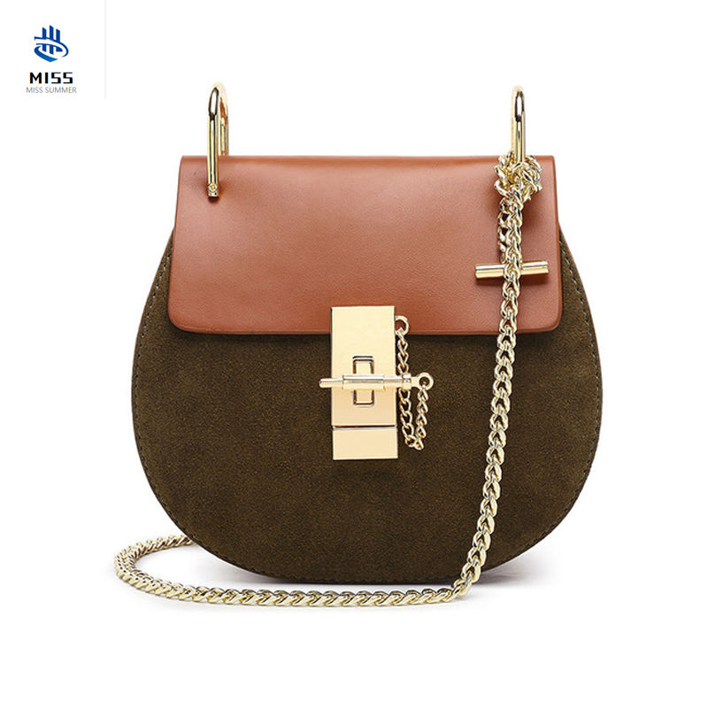 2019 new women's bag Luxury design chain lock pig bag Leather handbag First layer cowhide ladies shoulder slung small square bag