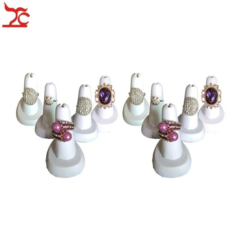 9f268bf5167e Venta al por mayor 10 unids lote Anillo blanco Leatheretter dedo anillo  resina anillo organizador de almacenamiento soporte 4 5