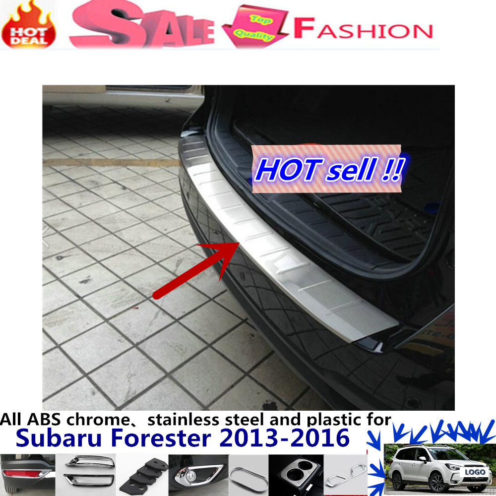 For subaru Forester 2013 2014-2016 External Rear Bumper Protect trim car body cover detector Stainless Steel plate pedal 1pcs  stainless steel side door molding trim cover for 2013 up subaru forester
