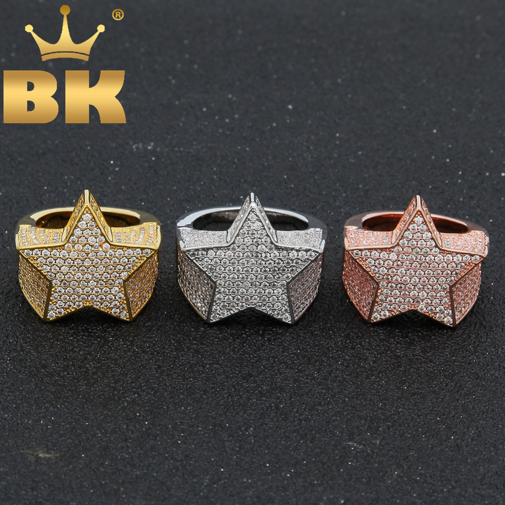 Le roi BLING mode étoile anneaux or argent couleur pleine glacé cubique zircone Hiphop anneau bijoux pour hommes et femmes livraison directe
