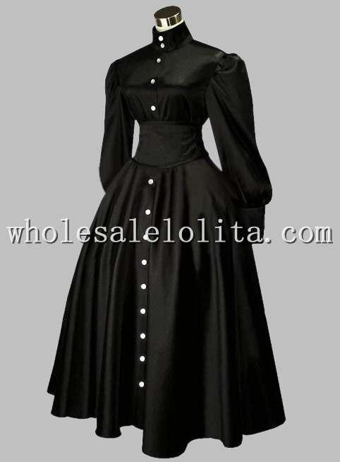 Готическое черное британское викторианское платье эпохи на пуговицах спереди