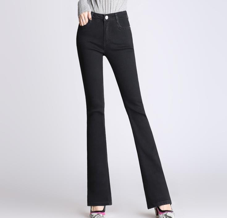 High Quality Waist Black Denim Flare Pants Womens Slim Black Flare Jeans-In Jeans -8155