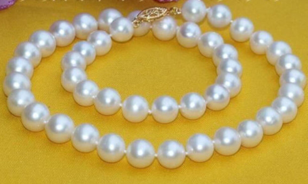 18 9-10MM SOUTH SEA WHITE PEARL NECKLACE YELLOW GOLD CLASP  >Selling jewerly free shipping18 9-10MM SOUTH SEA WHITE PEARL NECKLACE YELLOW GOLD CLASP  >Selling jewerly free shipping