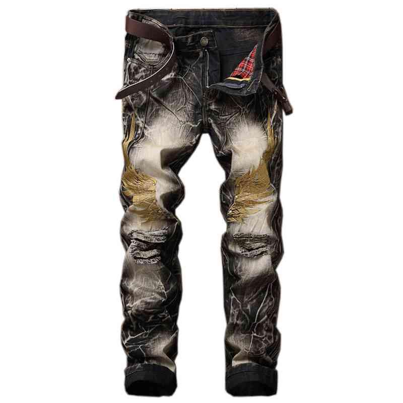 #1546 2017 Big sizes Slim skinny Black ripped jeans men Embroidered wing jogger jeans Famous brand Mens designer Biker jeans