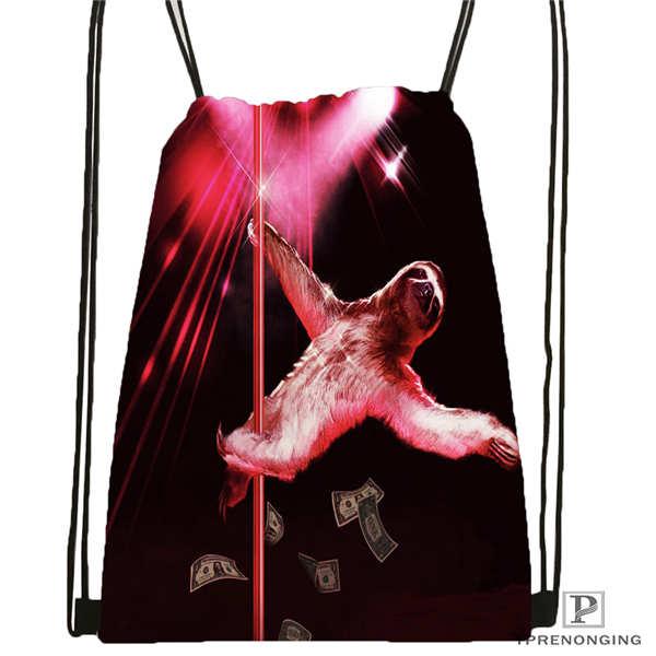 Custom Cover Sloth Bear Stripper Drawstring Backpack Bag Cute Daypack Kids Satchel Black Back 31x40cm 180611