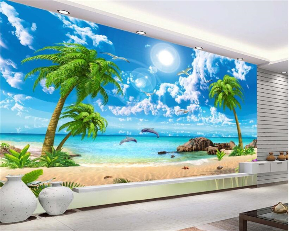 Beibehang Large Custom Wallpapers 3d Hd Seaview Rocks