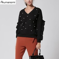 Autumn Winter Blouse V Neck Ruffles Full Sleeve Pearl Women S Clothes Spring Tops Overclothes High
