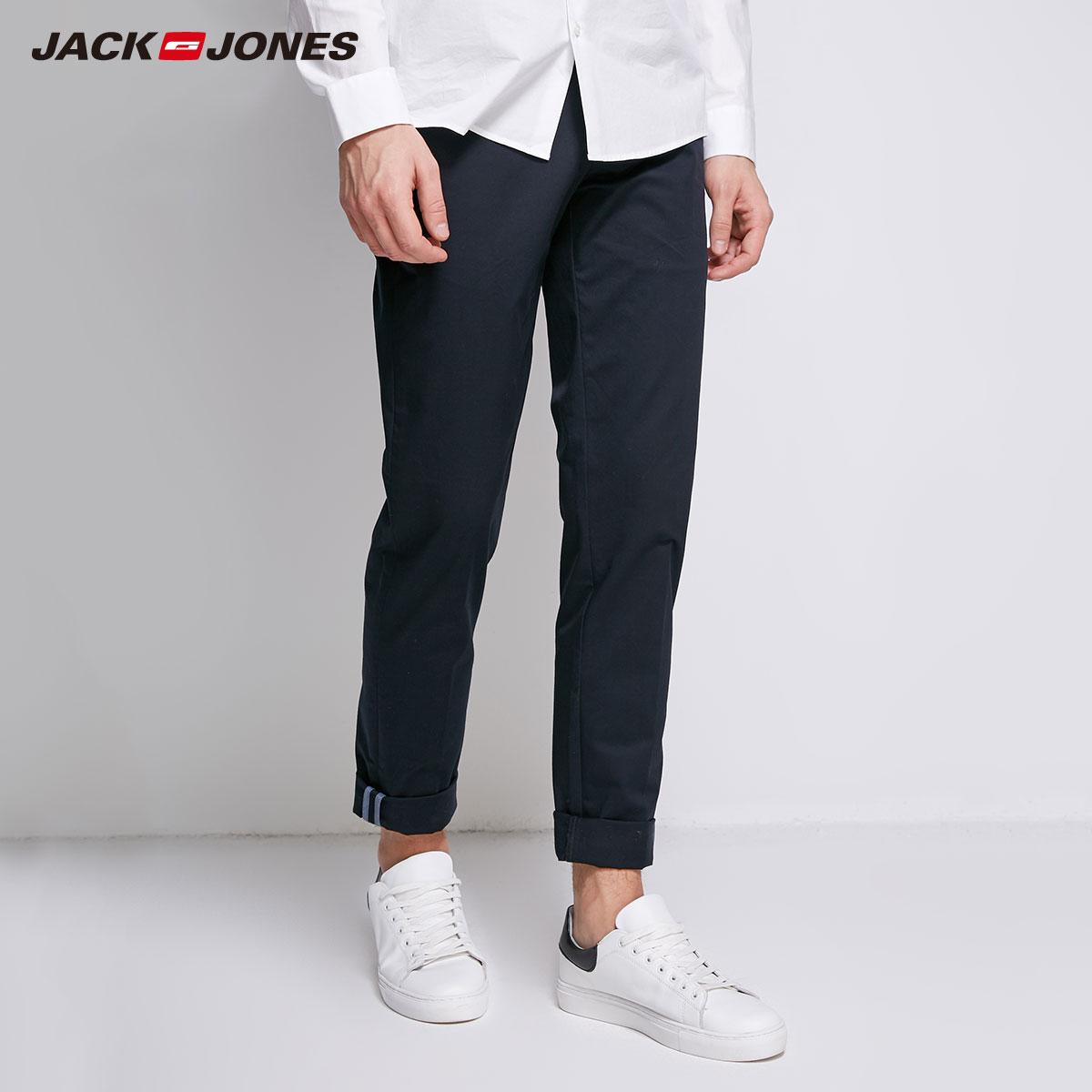 JackJones для мужчин из лайкры и хлопка эластичные ткань комфорт дышащий бизнес Smart повседневные штаны Slim Fit мотобрюки swear | 218314502