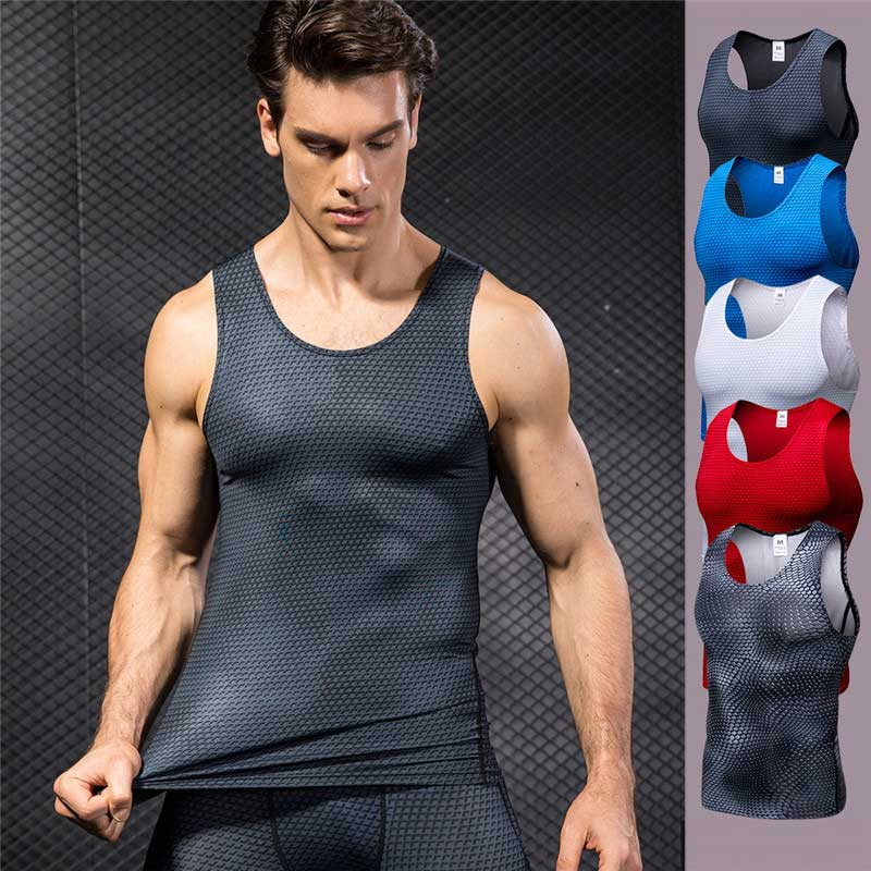 Men Pro Quick Dry Gym Tank Compress T-shirt Fitness Exercise Top Sport Run Vest Workout Tee Yoga Beach Basketball Plus Size 4021 Year-End Bargain Sale Vests Running Vests