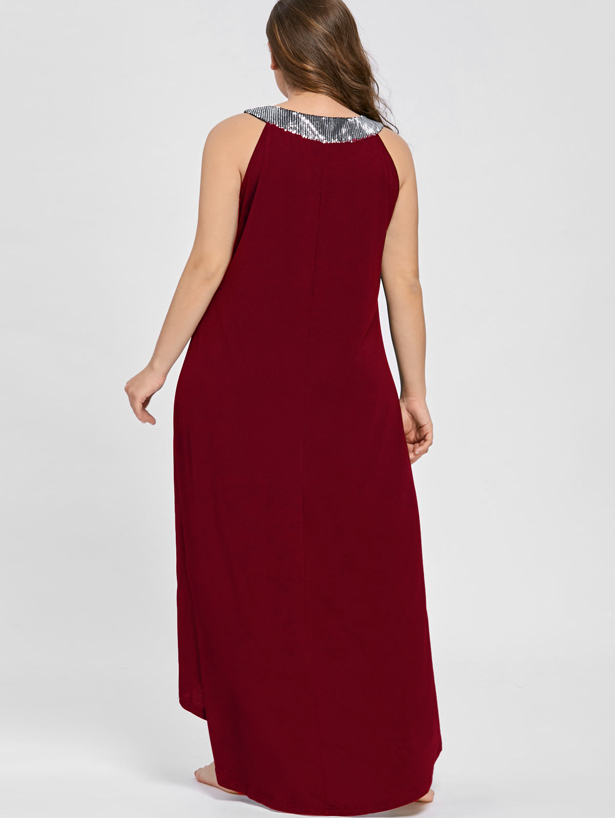071b8aba5fed Silhouette: Asymmetrical Dresses Length: Floor-Length Neckline: Round  Collar Sleeve Length: Sleeveless Waist: Natural Embellishment: Sequins