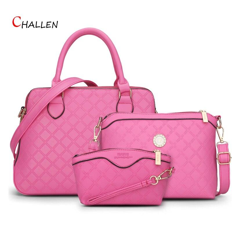 ФОТО 2016 Fashion Plaid Composite Bag Women Handbag Famous Brand Soft Zipper Shoulder Crossbody Bag High Quality Pu Black Clutch m713