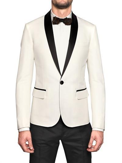 Elegant mens Wear White and Black Smoking Dinner jacket/Wedding Suits For Men/Best man's 3 Peice Set(Jacket+Pants+Bowtie)