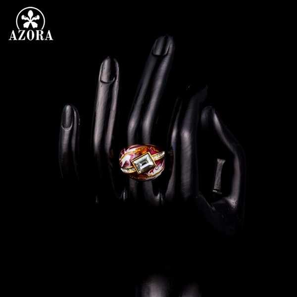 AZORA الذهب اللون واضح مستطيل Stellux النمساوية كريستال الأحمر النفط اللوحة نمط حلقة للنساء TR0151