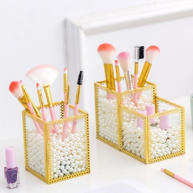 Glass Clear Makeup Organizer Cosmetic Lipstick Holder Makeup Tools Storage Box Brush Accessory Pencil Rack Make up Organizer Box