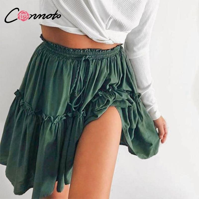 Conmoto Dark Green Skirt Casual Sweet RufflesPink Skirt