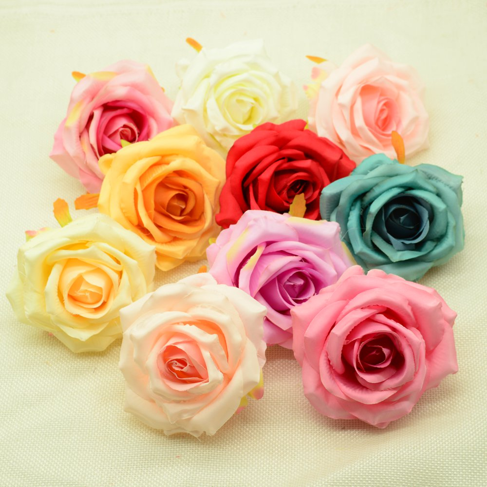 100pcs 8cm Artificial flowers christmas home wedding decor accessories diy household products gifts box fake plastic