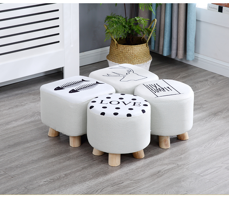 Furniture Children Chairs Cloth Stool Fashion Home Adult Living Room Stool Sofa Stool Solid Wood Stool Small Bench Bench Small Block