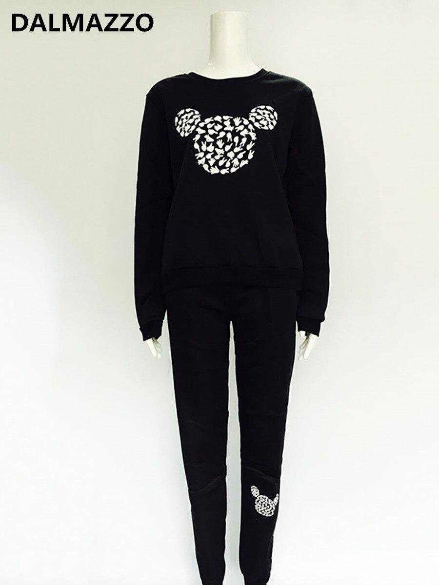 2019 Newest Autumn Women Fashion Cut Cartoon Mickey Print Tracksuit Cotton Blends Clothes Set Sweatshirt + Pants Suit Black Grey