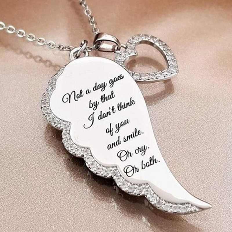 Ожерелья с крыльями ангела, женская подвеска в форме сердца, ожерелье, часть моего сердца, жизнь на небесах, подарок для дочери, девушки