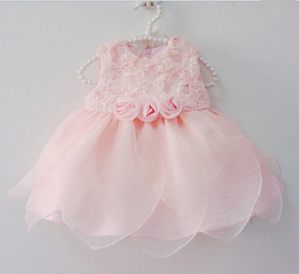 Baby girl dresses summer cotton pink tutu 1 year birthday dresses sequin petals rose floral lace infant princess dresses 0-18M 2018 new cotton printed rose dresses
