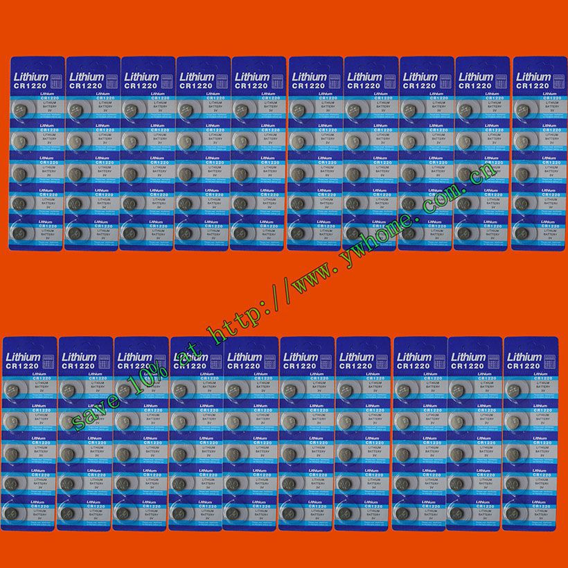 100PCS SUNMAX CR1220 LITHIUM BATTERIES 3V SHIP by air mail