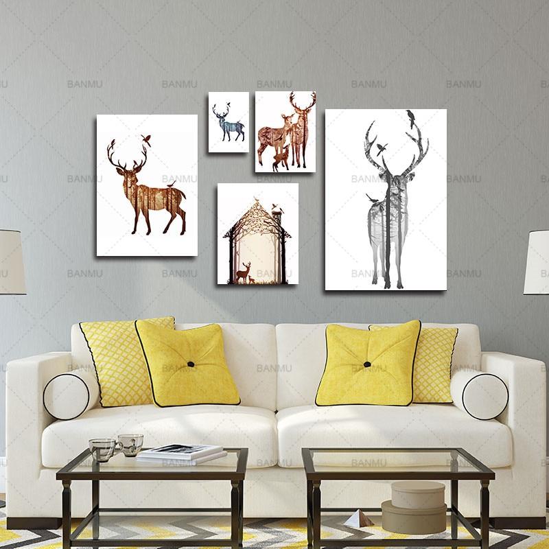 Çam meşəsi kətanları ilə maral ailəsinin silueti, - Ev dekoru - Fotoqrafiya 6