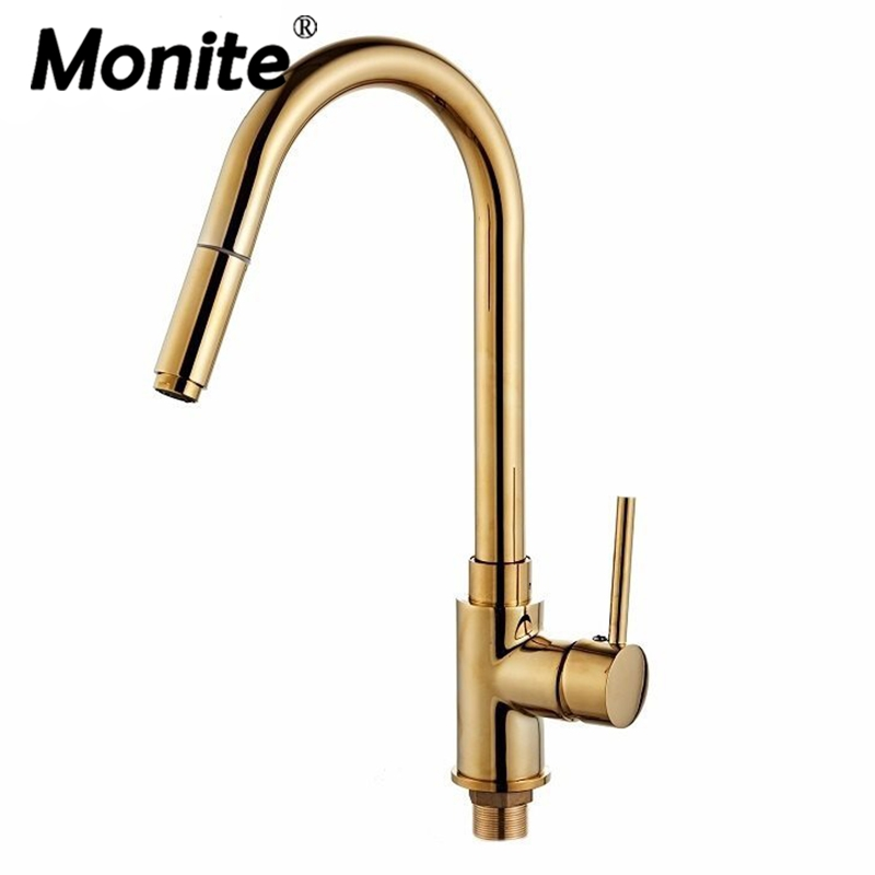 Golden Plated Swivel Pull Out Kitchen Faucet Deck Mounted Single Handle Tap Polished Single Hole Kitchen Rotated Basin Mixer Tap напольная плитка natucer urban cosmos 30x30