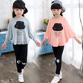 Baby Girls Spring Autumn Suits 2017 Korean Kids Shirt+Pant Two-Piece Sets Child Fashion Casual Batwing Sleeves Clothing Hot Sale