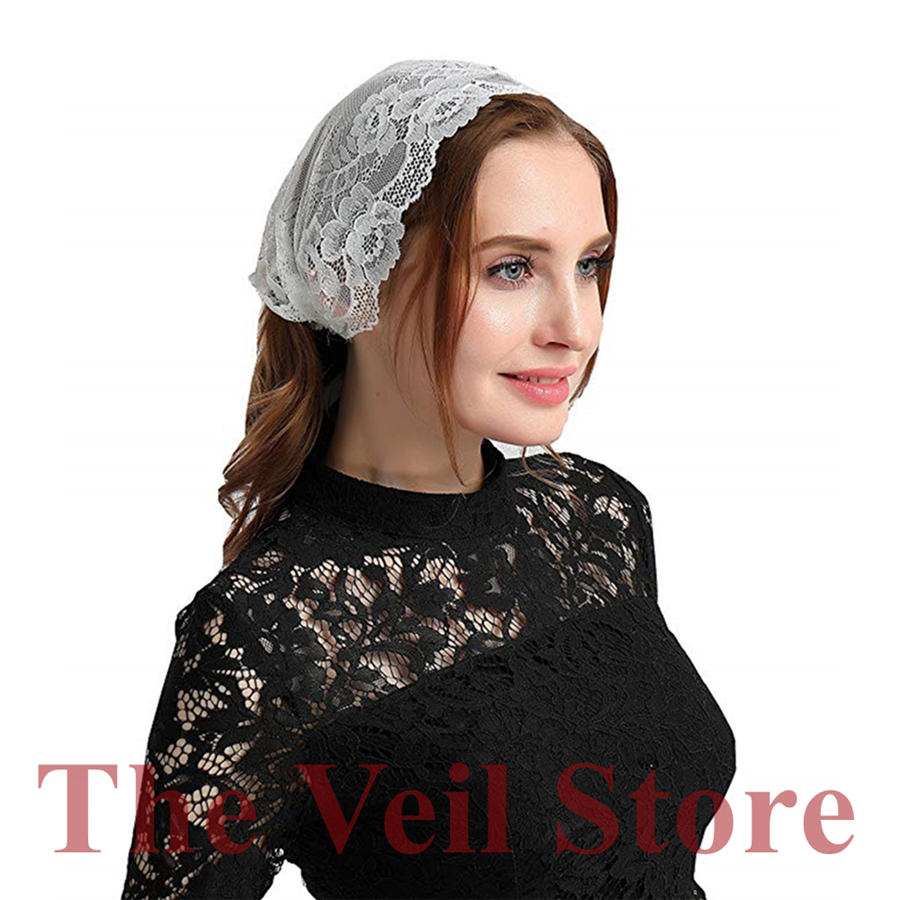 White Soft Stretch Lace Mantilla Chapel Veils For Church Tie Style Headwrap Covering Headband Latin Mass Velo Mantilla De Novia