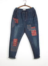 2017 Fashion National Wind Retro Patch Loose Denim Pants Embroidered Patches Jeans Pants for Women Loose Female Jeans Trousers