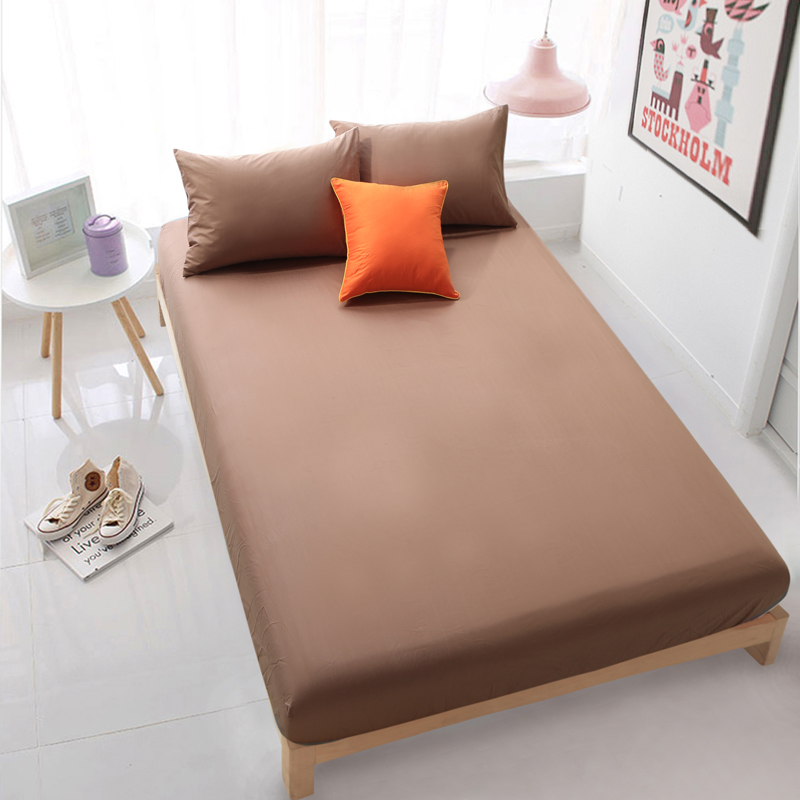 Wholesale solid brown color fitted sheet home textile bed How to put a fitted sheet on a bed