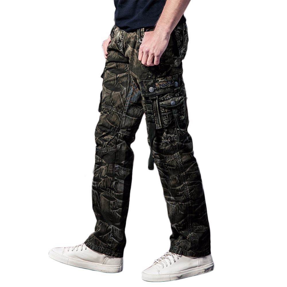 Men's Classic Cargo Pants Warm Thick Baggy Pants Cotton Male Military Cargo Trousers Camo Joggers