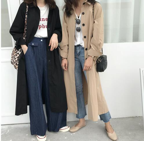 Fashion Women Vintage Single-brested Khaki Cotton Trench outerwear Plus size overcoats For Women  am123