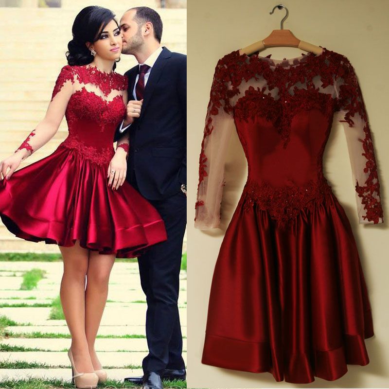b4880053a37 2017 Short Prom Dresses O Neck Long Sleeve Cover Back Above Knee Satin With  Applique Short Party Evening Dress For Women -in Prom Dresses from Weddings  ...