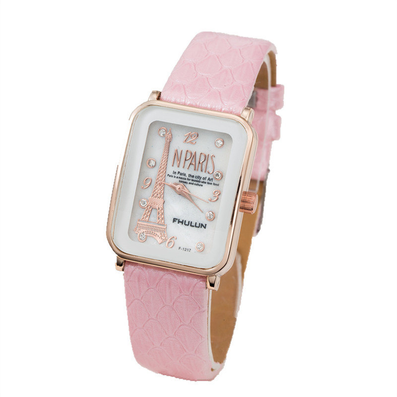 FUNIQUE Eiffel Tower Pattern Simple Women's Watch Square Dial Leather Strap Quartz Watch For Women Ladies Wrist Watch Hand Clock eiffel tower pattern dial split leather band analog quartz wrist watch red bronze 1 x ag4