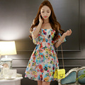 Original 2016 Brand Floral Sexy Party Dreses Women's Gypsy Style Battenburg Waist Ruffled Swing Hem Sleeveless Dress Wholesale