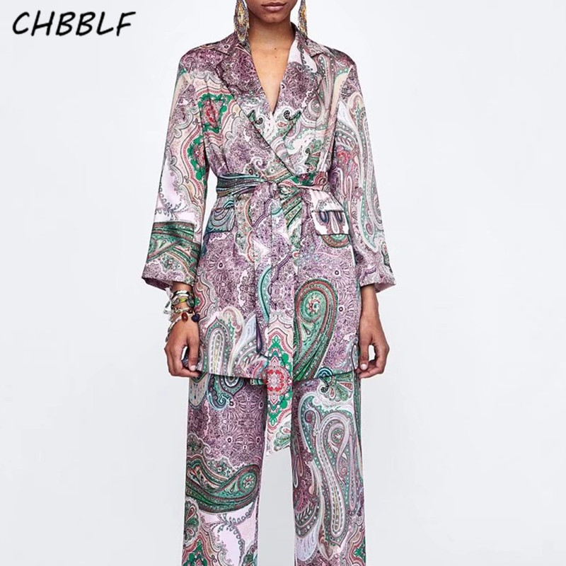 CHBBLF fashion paisley pattern blazer coat open stitch bow tie sashes long sleeve outerwear ladies loose coat XSZ1660