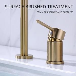 Image 5 - Dual Holes Singe Handle Design Faucet Kitchen Sink Faucet Matt Burnish Gold Brass Double Hole Pull Out Deck Mount Mixer Tap