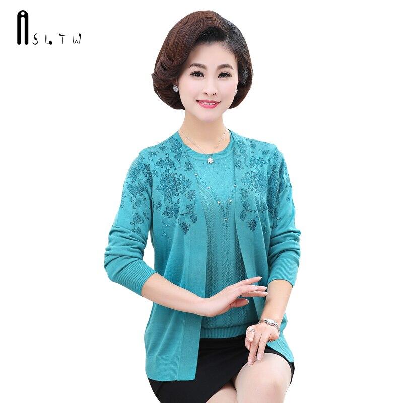 ASLTW Sweater For Women New Spring Women O Neck Sweater Set Shirt Cardigan Plus Size Real