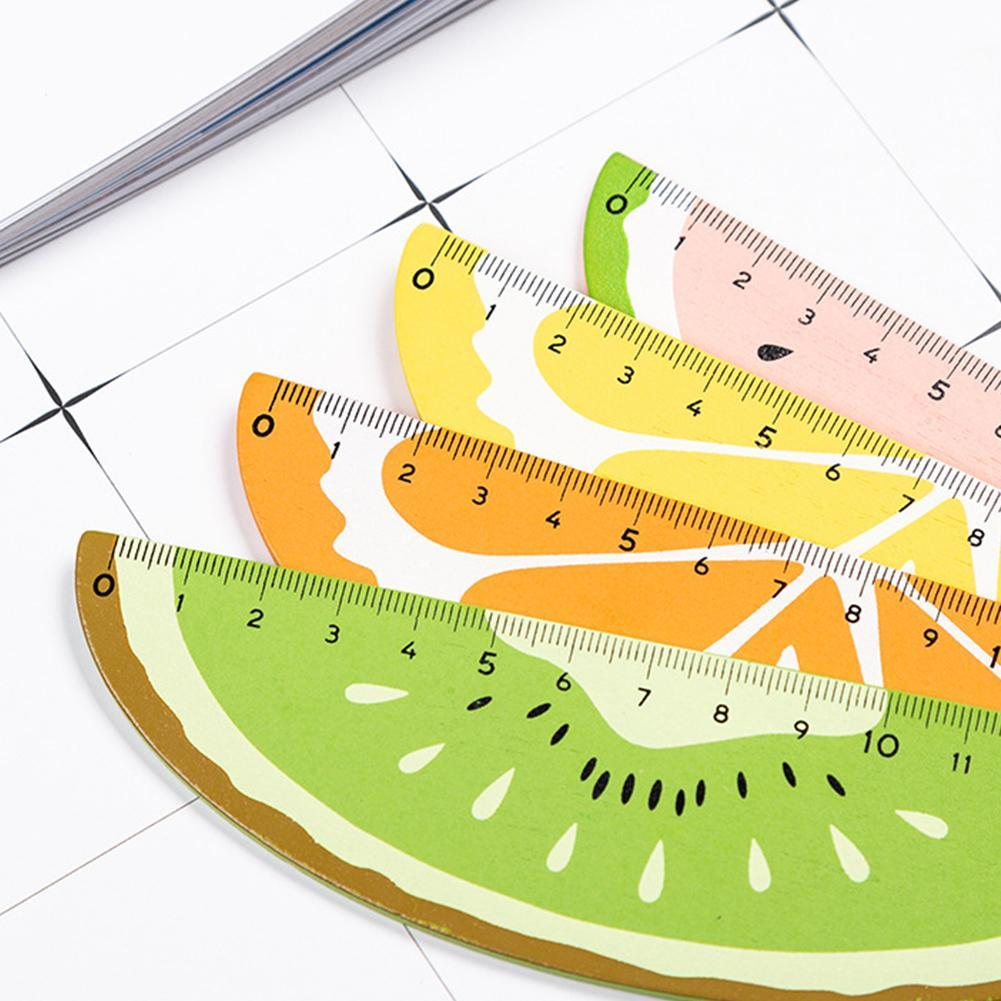 1Pc Cute Wooden Fruit Ruler 15cm Measuring Straight Rulers Drawing Tool Promotional Stationery Gift School Supplies