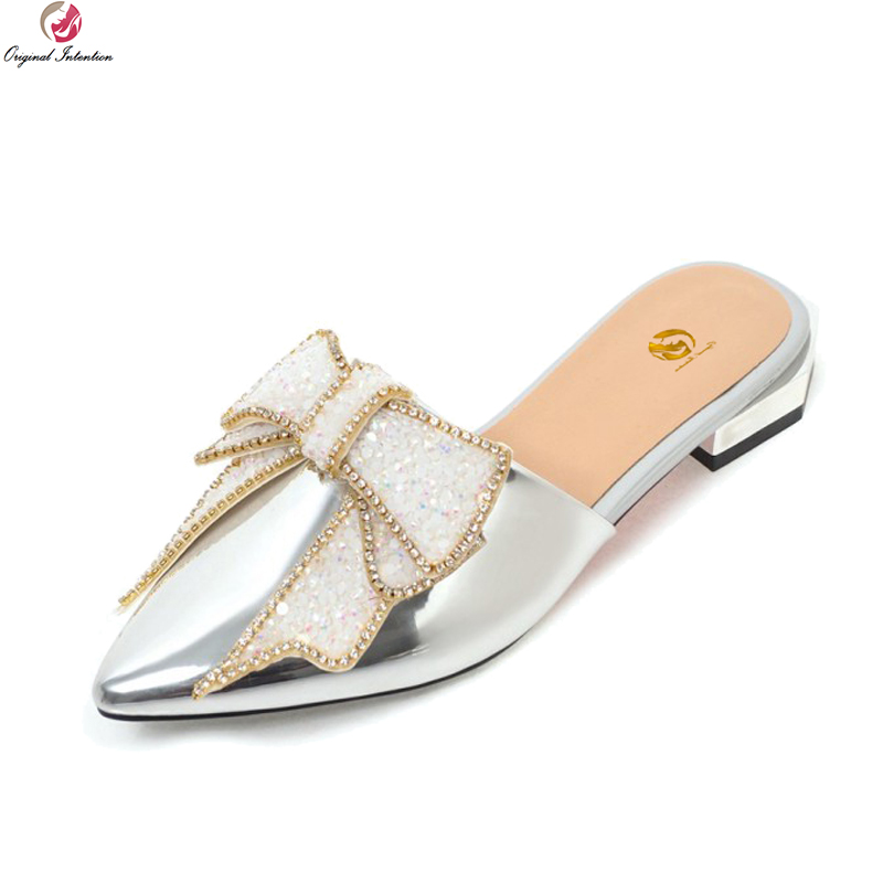 Original Intention Super Fashion Women Flats Pointed Toe Flat Shoes Black White Silver Red Rose Pink Shoes Woman US Size 3-10.5 dc shoes кеды dc shoes trase black white white us 8