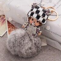 Mignon de bande dessinée Monchichi moelleux de fourrure trousseau pour belle poupée pendentif porte-clés cadeaux de noël pour femmes bijou de sac porte-clés