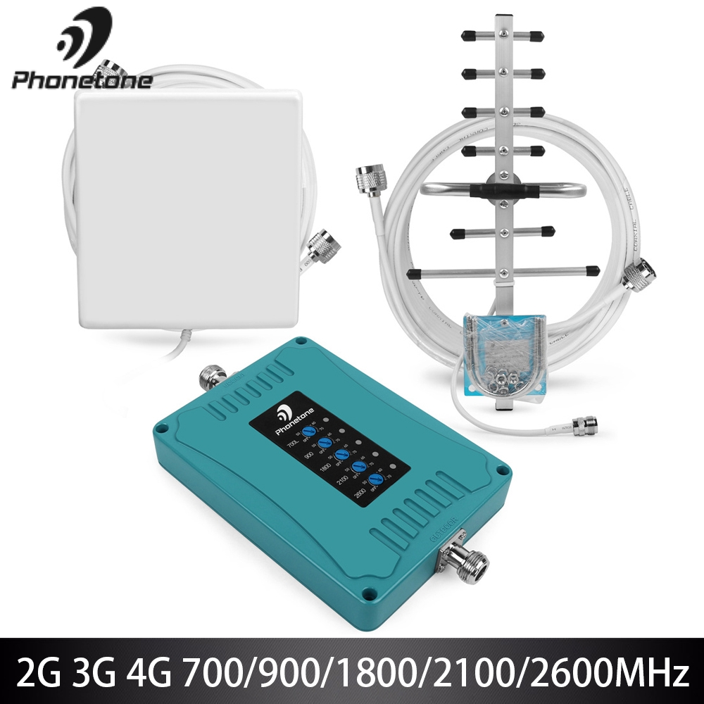 Cellular Amplifier 2g 3g 4g GSM Repeater Booster700/900/1800/2100/2600MHz Mobile Signal Repeater 4g Signal Booster For Cellphone