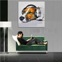 סיטונאי הטוב ביותר הכי חדש צבעים מופשטים ציור שמן חיות כלב מוסיקה יד מצוירות עבור יצירות אמנות על בד תמונת בית תפאורה קיר