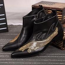 Fashion Leopard Pailletten Echtes Leder-mann Stiefeletten Plus Größe Spitz Kurze Stiefel Schwarz Reißverschluss Stiefel Partei Schuhe