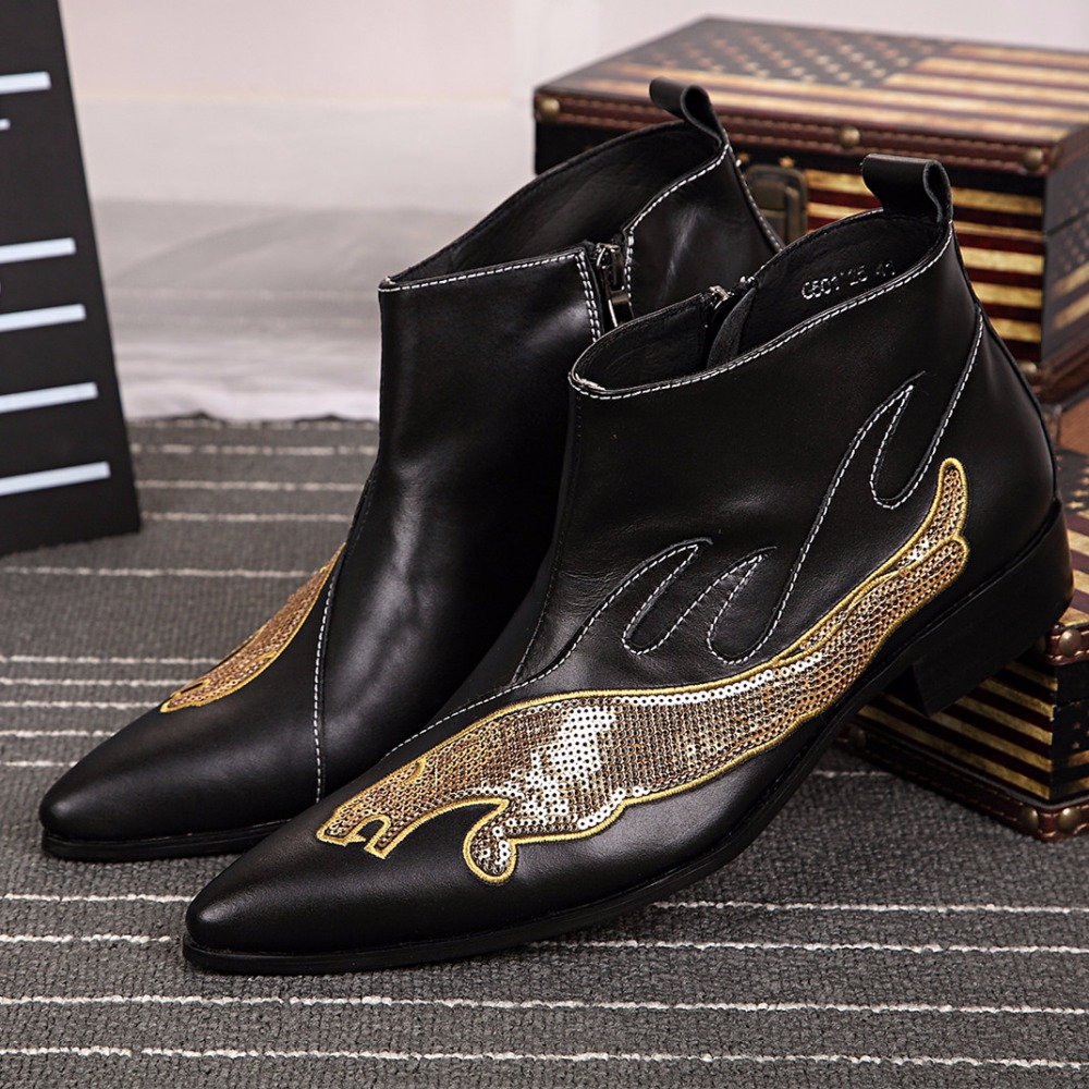 Leather Boots Fashion Men Formal