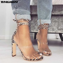 TINGHON Summer New Shoes Woman Sandals High Heels Ankle Strappy Cross-Tied Fashion Lace-up Pumps Serpentine