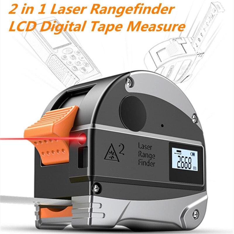 2 em 1 30 M Telêmetro A Laser LCD Digital Medidor de Distância Medidor Range Finder Fita Métrica Infravermelho Construção GaugingTool USB